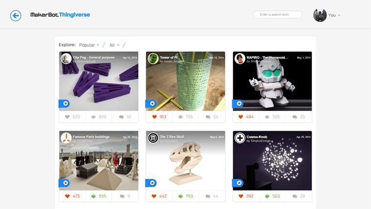 MakerBot Thingiverse screen shot 0