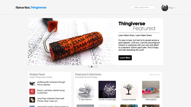 MakerBot Thingiverse screen shot 2