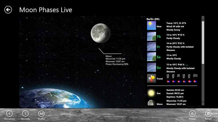 Moon Phases Live screen shot 2