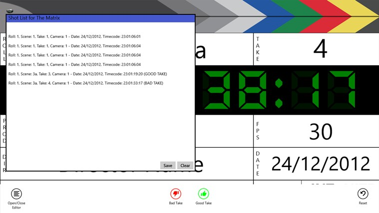 Digital Clapperboard screen shot 2