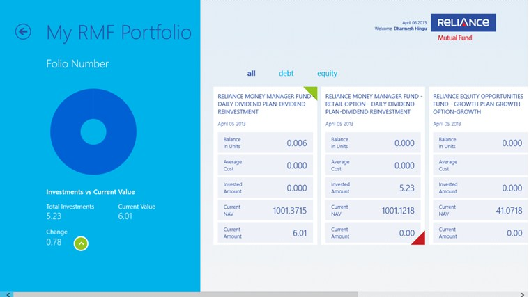 Reliance Mutual Fund i-screen shot 2