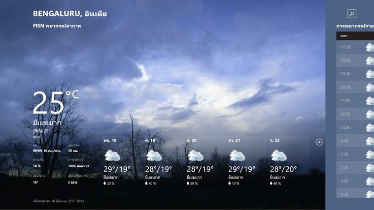 MSN พยากรณ์อากาศ ภาพหน้าจอ 0