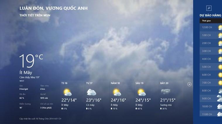 Thời tiết trên MSN ảnh chụp màn hình 0