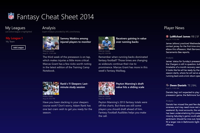 NFL Fantasy Football Cheat Sheet & Draft Kit 2014 screen shot 0