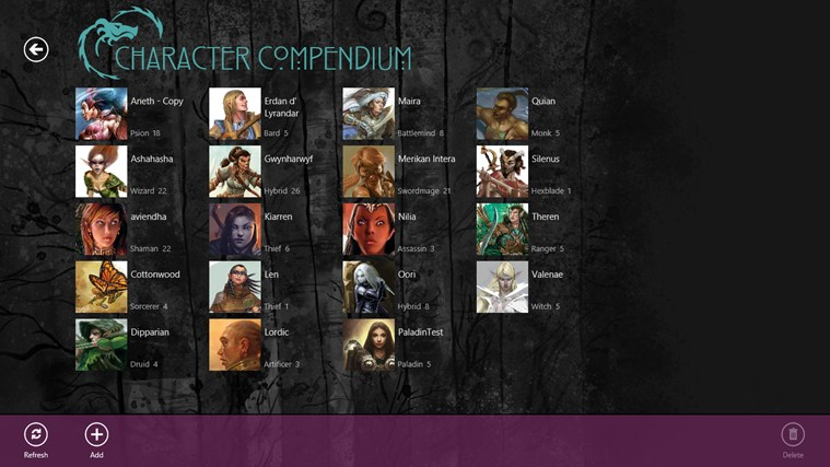 Character Compendium screen shot 0