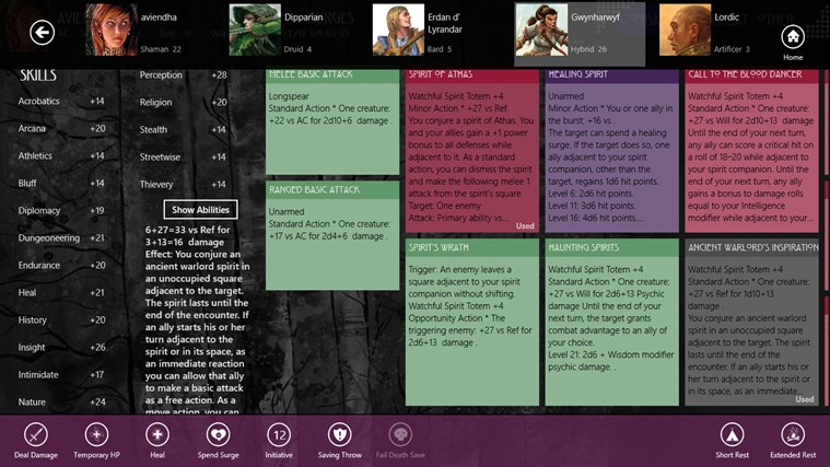 Character Compendium screen shot 4