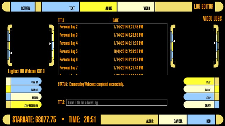 LCARS Interface screen shot 2