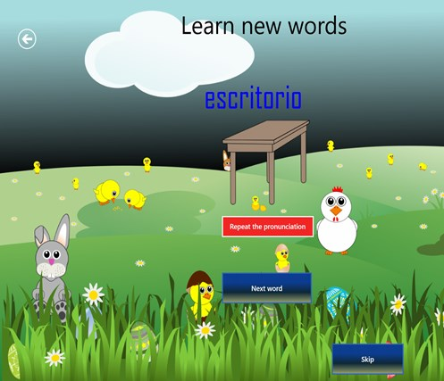 Learn Spanish Memory Game screen shot 2