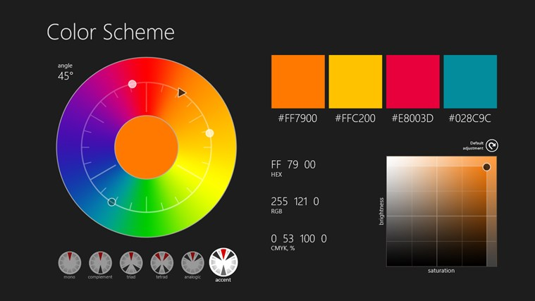 Color Scheme App For Windows In The Windows Store