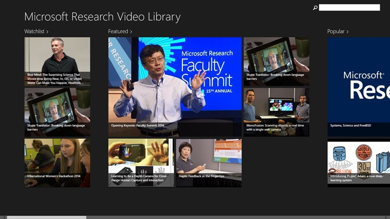 Microsoft Research Video Library screen shot 2
