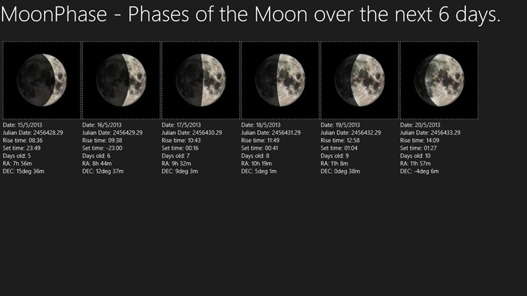 MoonPhase app for Windows in the Windows Store