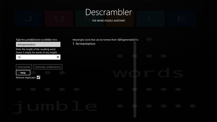 Descrambler - The Jumbled Word Unscrambler screen shot 2