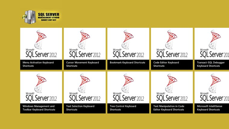 SqlServer Management Studio ShortCut screen shot 0