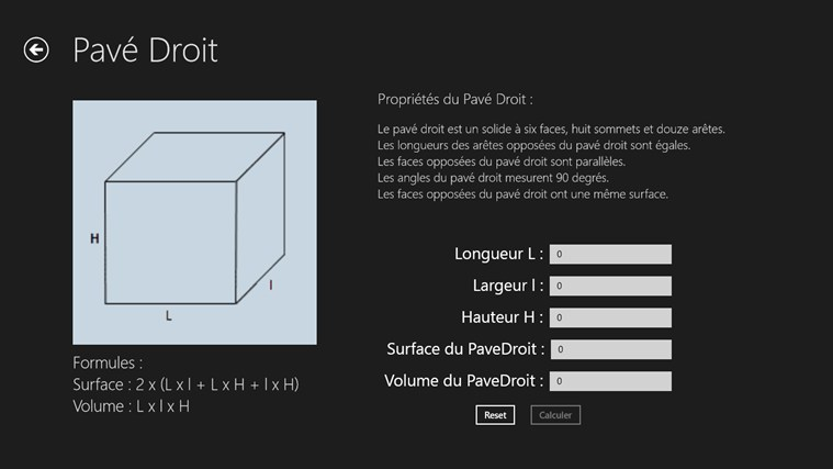 Calcul Surface et Volume screen shot 2