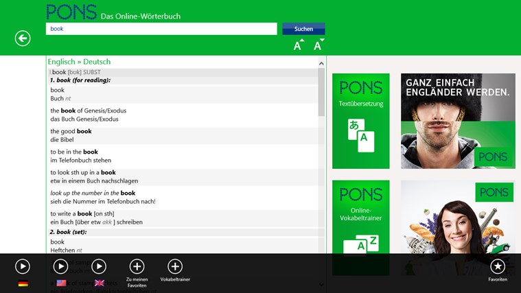 PONS Online-Wörterbuch Screenshot 2