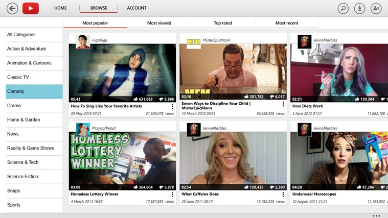 YouTube for Windows 8 screen shot 8