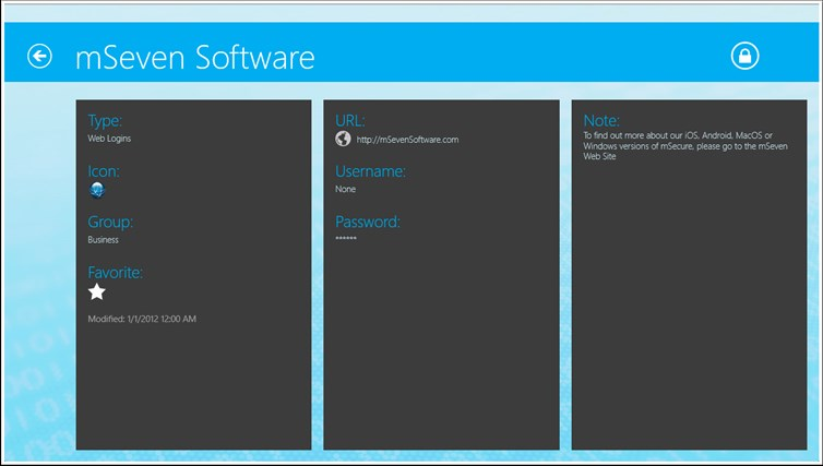 mSecure for Windows 8 and Lenovo captura de pantalla 2