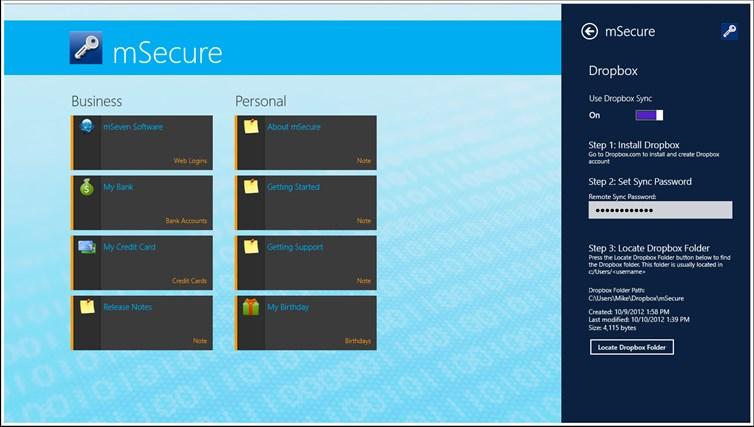 mSecure for Windows 8 and Lenovo captura de pantalla 6