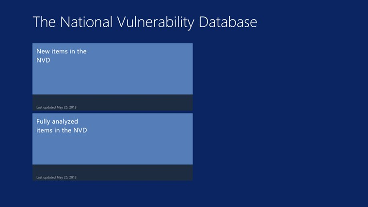 National Vulnerability Database screen shot 0