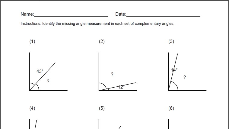 Supplementary Angle Worksheet - Letravideoclip