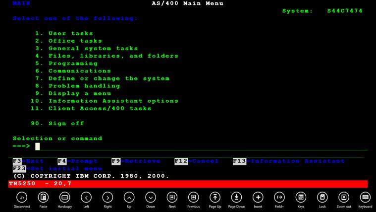 Mocha TN5250 screen shot 0