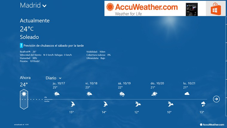 AccuWeather for Windows 8 captura de pantalla 0