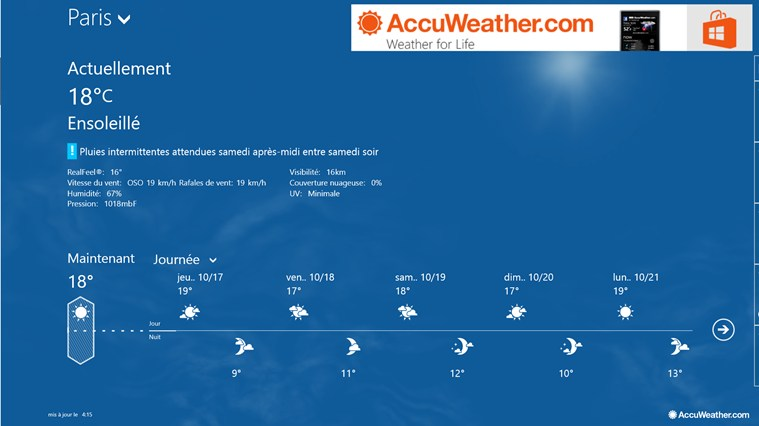 AccuWeather for Windows 8 capture d'écran 0