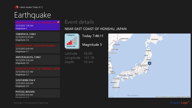 Earthquake for Win8 UI screenshot