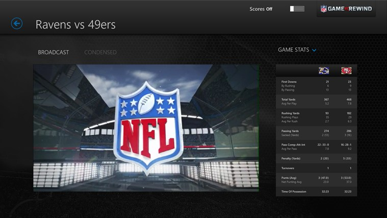 NFL Game Rewind screen shot 2