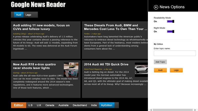 Google News - Reader screen shot 2