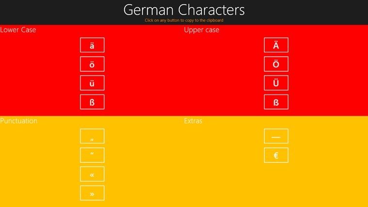 German Special Characters and Punctuation screen shot 0