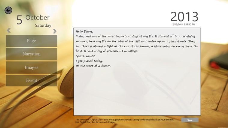 Digital Diary screen shot 2