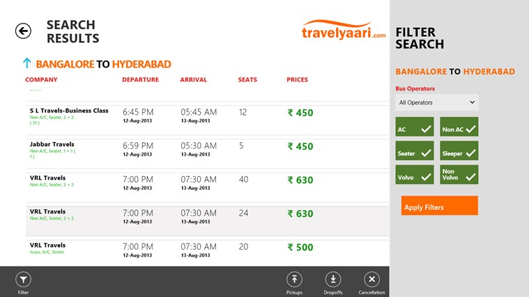Travelyaari screen shot 2