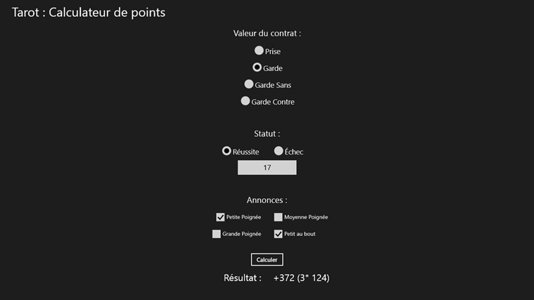 Calculateur de points - Tarot screen shot 0