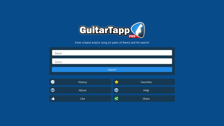 GuitarTapp Pro for Win8 UI full screenshot