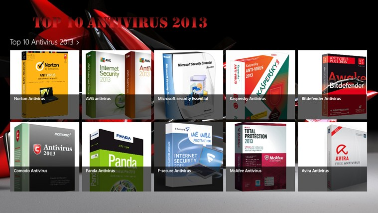 Top 10 Antivirus 2013 captura de pantalla 0