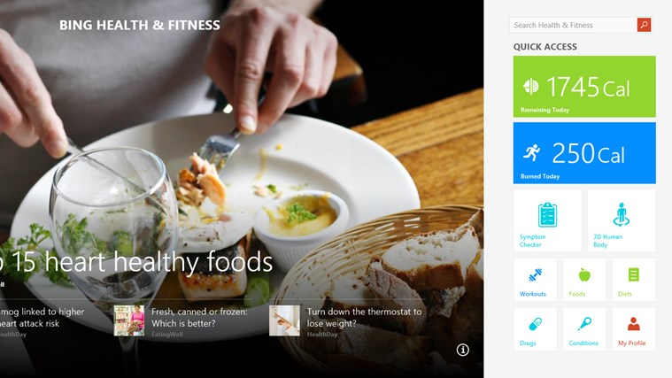 Bing Health & Fitness screen shot 0