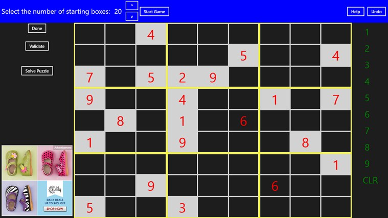 Complete Sudoku screen shot 2