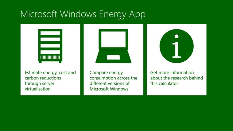 Microsoft Windows Energy Calculator screen shot 0