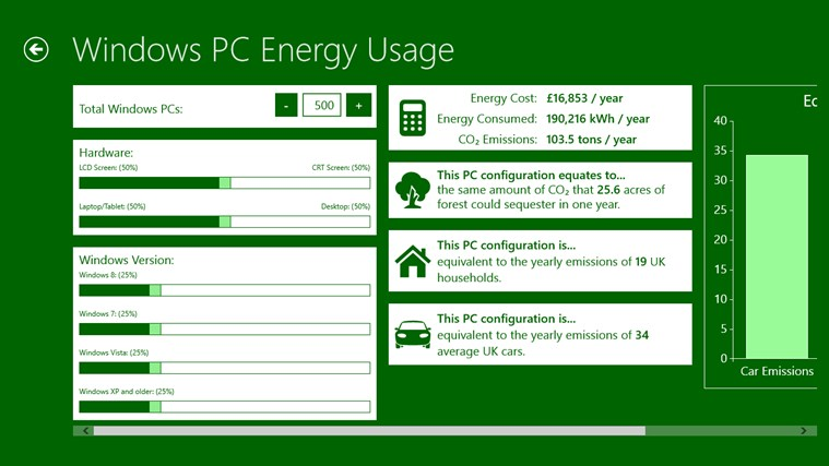 Microsoft Windows Energy Calculator screen shot 2