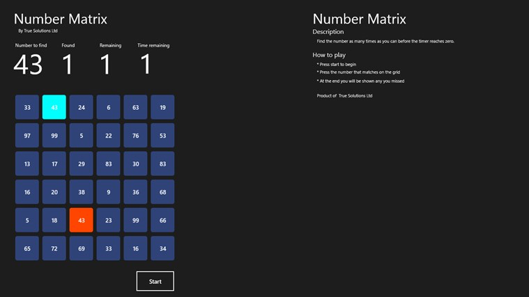 Number Matrix screen shot 0