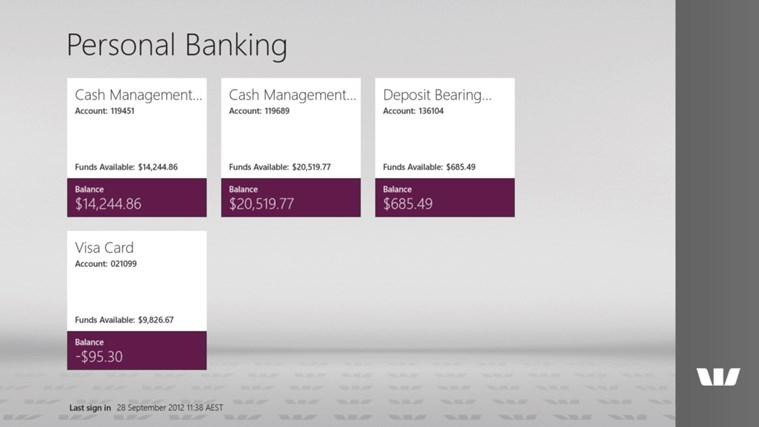 Westpac Banking for Windows 8 screen shot 0