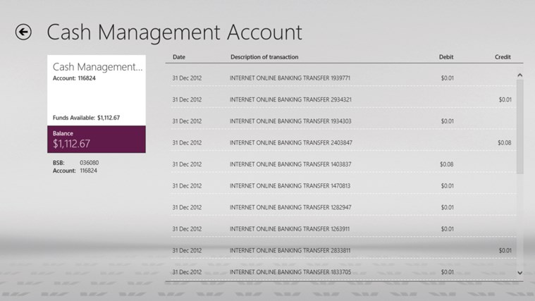 Westpac Banking for Windows 8 screen shot 2