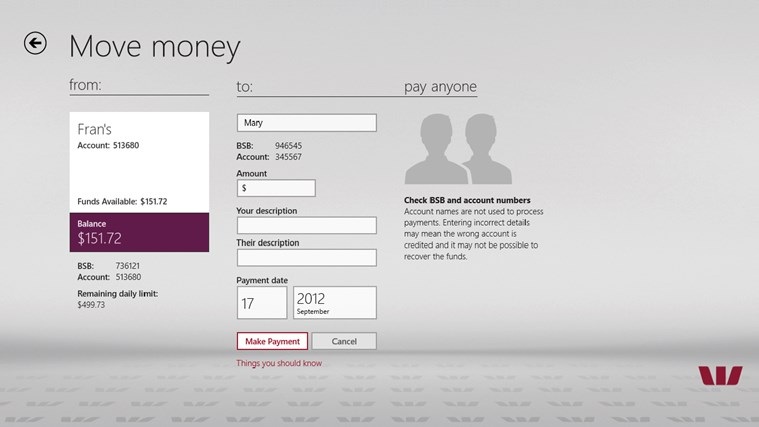 Westpac Banking for Windows 8 screen shot 6