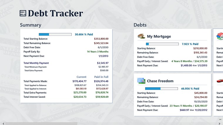 Debt Tracker screen shot 0