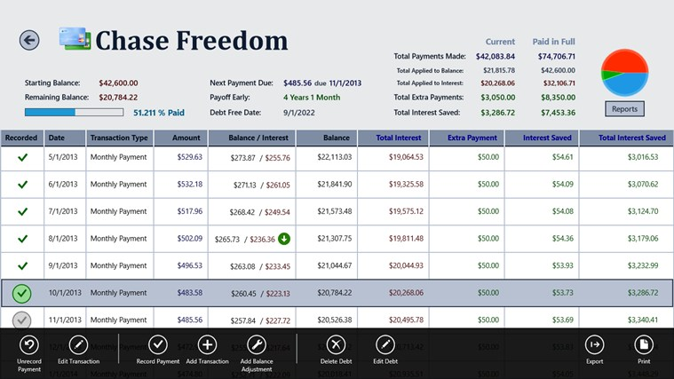 Debt Tracker screen shot 2