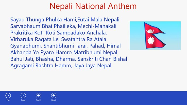 National Anthem of Nepal Version 2.0 for Windows 8 app, free download on Store