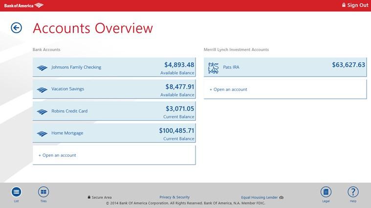 Bank of America screen shot 0