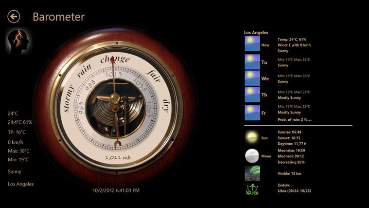 barometer app for windows in the windows store. Black Bedroom Furniture Sets. Home Design Ideas