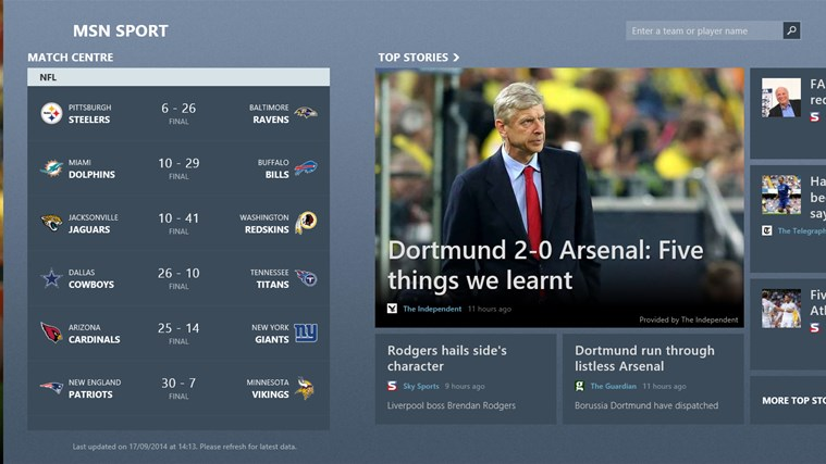 MSN Sport screen shot 2